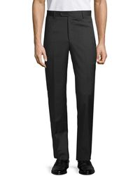 Saks Fifth Avenue Wool Flat-front Trousers - Gray