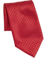 Charvet Small Houndstooth Silk Tie - Red