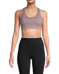 X By Gottex Women's Textured Racerback Bra - Plum Heather - Size S - Purple