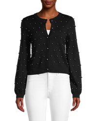 MILLY Wool Faux Pearl Cardigan - Black