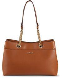 Calvin Klein Chain-strap Leather Tote - Brown