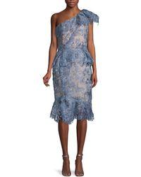 Marchesa One-shoulder Lace Dress - Blue