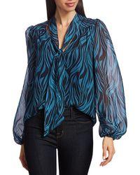 Ramy Brook Women's Baker Tie-neck Printed Blouse - Navy Slate - Size Xs - Blue