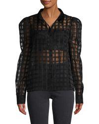 English Factory Plaid Mesh Shirt - Black