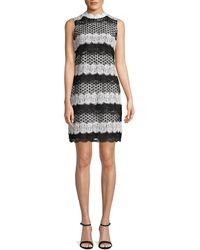Belle By Badgley Mischka Classic Lace-trimmed Sheath Dress - Black