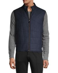 Corneliani Men's Reversible Quilted Virgin-wool Vest - Dark Blue - Size 58 (48)