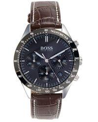 BOSS by Hugo Boss Men's Talent Stainless Steel & Leather-strap Watch - Black