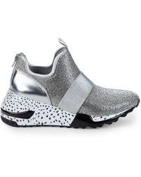 Steve Madden Women's Zaccai Beaded Sneakers - Silver - Size 6.5 - Metallic