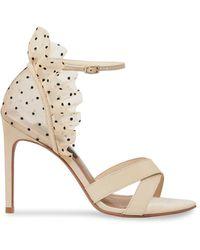 BCBGMAXAZRIA Women's Max Azria Stella Leather Stiletto Sandals - Taupe - Size 7 - Metallic