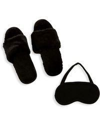 Portolano - Faux Fur Cashmere Two-piece Eyemask And Slippers Set - Lyst