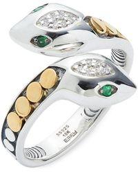 Effy - Sterling Silver, 18k Yellow Gold, Tsavorite & Diamond Ring/size 7 - Lyst