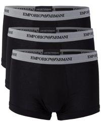 Emporio Armani 3-pack Essential Logoband Trunks - Black