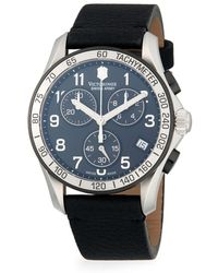 Victorinox Chrono Classic Stainless Steel & Leather-strap Chronograph Watch - Black