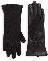 Saks Fifth Avenue Tonal Leopard-print Cashmere Gloves - Black