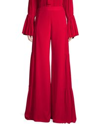 Alexis Talley Silk Flare Pants - Red