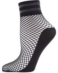 Memoi Metallic Stripe Fishnet Ankle Socks - Black