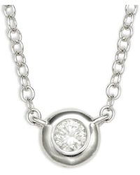 Saks Fifth Avenue - 14k White Gold & Diamond Pendant Necklace - Lyst