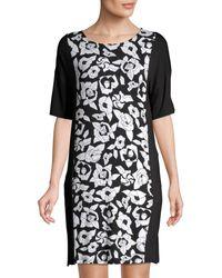 DKNY Floral Roundneck Sleepshirt - Black