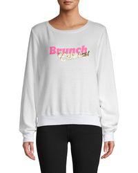 Wildfox Brunch Enthusiast Graphic Sweatshirt - White