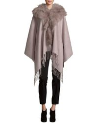 Annabelle New York - Textured Wool Cape With Dyed Fox Fur - Lyst
