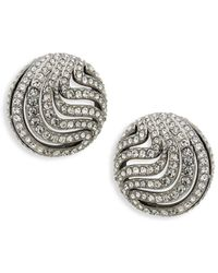 Adriana Orsini - Crystal Wispy Cutout Button Earrings - Lyst