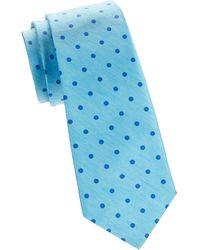 Kiton Dot Silk & Linen Tie - Blue