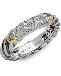 Effy Sterling Silver, 18k Yellow Gold & Diamond Ring - Metallic