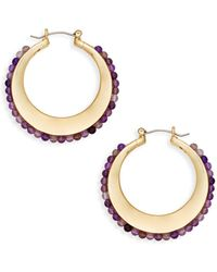 Ava & Aiden Goldtone & Semi Precious Crescent Hoop Earrings - Metallic