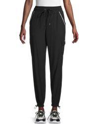 Nine West Women's Toggle-Hem Cargo Sweatpants - Black - Size L