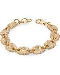 Bavna 14k White Gold Diamond, Onyx & Sapphire Evil Eye Charm Bracelet - Multicolour