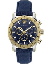 Versace Chrono Sporty Two-tone Stainless Steel & Leather Strap Chronograph Watch - Multicolor