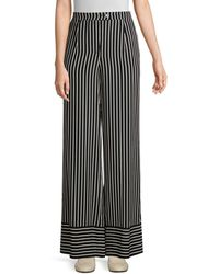 Beatrice B. Striped Wide Leg Pants - Black