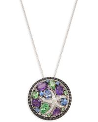 Effy 14k White Gold, Diamond And Multi-stone Pendant Necklace - Multicolour