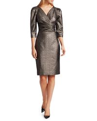 Teri Jon Lamè Metallic Puff Sleeve Sheath Dress - Multicolour