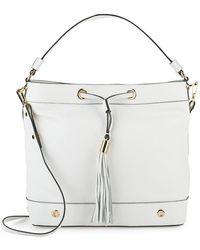 MILLY - Astor Leather Drawstring Hobo Bag - Lyst
