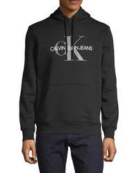 Calvin Klein Logo Graphic Cotton-blend Hoodie - Black