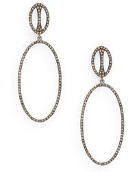 Bavna - Diamond Oval Drop Earrings - Lyst