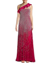 Valentino - Ruffle Silk Floor-length Gown - Lyst
