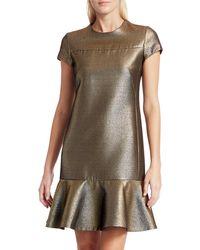 Akris Punto Lamé Cap-sleeve Dress - Metallic