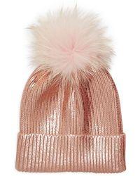Adrienne Landau Fox Fur Pom-pom Metallic Beanie - Pink