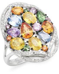 Effy - Sapphires, Diamond And 14k White Gold Ring - Lyst