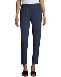 Eileen Fisher System Silk Georgette Slouchy Ankle Pants - Blue