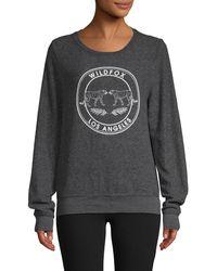 Wildfox Logo Graphic Fleece Sweatshirt - Gray