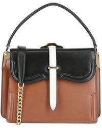 Prada Colorblock Leather Shoulder Bag - Brown