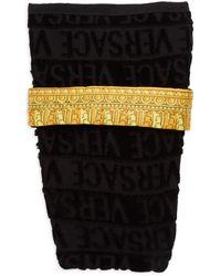Versace Logo Cotton Dog Bathrobe - Black Multi - Size L