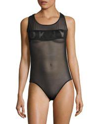 DKNY Runway Mesh Bodysuit - Black