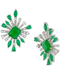 CZ by Kenneth Jay Lane Women's Look Of Real Rhodium-plated & Crystal Starburst Earrings - Green