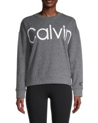 Calvin Klein Women's Logo Cotton-blend Sweatshirt - Black Heather Grey - Size Xl
