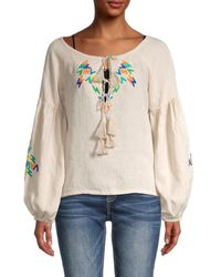 All Things Mochi Women's Embroidered Linen Top - Grey - Size Xs