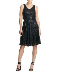 Donna Karan Sequined Fit-&-flare Dress - Black